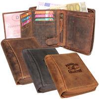Leder Biker Börse mit Reißverschluss Portemonnaie Geldbörse Geldbeutel Vintage