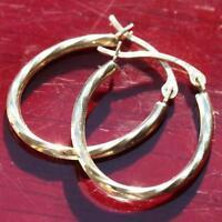 """10k yellow gold earrings  3/4"""" swirl hoop vintage handmade"""