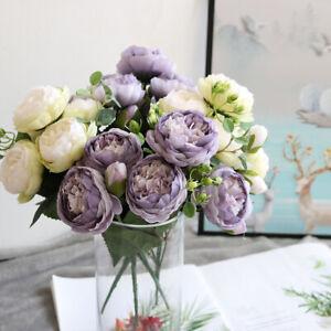 9 Heads Silk Peony Artificial Flowers Bouquet Fake Tea Rose  Home Wedding Decor