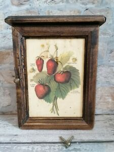 Wooden Keyhook Cabinet Strawberry Country Style Shabby Chic