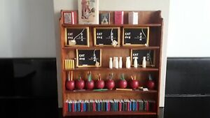 Schoolroom 1:12th vintage shelf unit complete with books pencils and chalk board