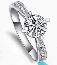18k White Gold Filled with Silver 1.25 Carat Wedding Bridal Engagement Ring R81