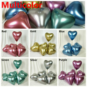 "12"" Inch Heart Shaped Balloons Latex metallic Party Valentine for Helium Air Lot"