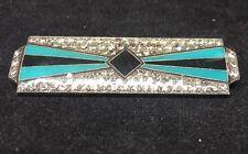 Vintage PIERRE BEX Art Deco  RHINESTONE Black Green Silver Enamel Brooch Pin