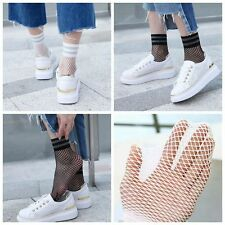 Sports Casual Silver Striped Ankle Socks Mesh Fishnet