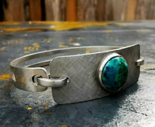 925 Sterling Silber Klapp Armreif mit Chrysokoll besetzt Südamerika Handarbeit