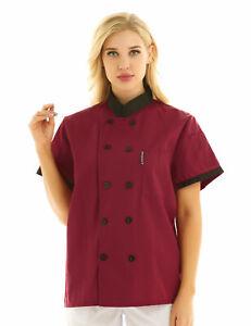 Unisex Chef Uniform Short Sleeve Chef Coat Double Breasted Cook Working Jacket