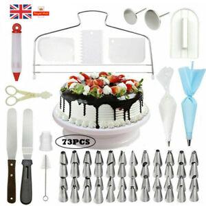 73pcs Cake Decor Kit Tool Baking Supplies Turntable Spatula Set Fondant DIY UK