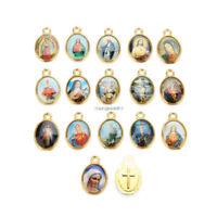 100Pcs Catholic Holy Religious Crosses Enamel Medals Charms Jewellery Pendants