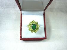 4.67 ct Natural Green Agate & Peridot Sterling Silver Ring US(9) AU (R 3/4)