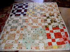"1950s Crazy QUILT Patchwork Feedsack PATCH Patches 75"" x 64 Vintage Great Oldie!"