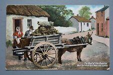 R&L Postcard: Peat Black Turf Irish Ass-Donkey & Cart