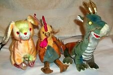 2000 TY Zodiac Dragon, Rabbit & Rooster Beanie Babies Ear & Rear Tags EC