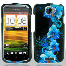 For HTC ONE S Rubberized HARD Protector Case Snap Phone Cover Blue Flowers