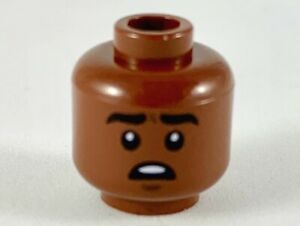 Lego 1 Brown Minifigure Figure Head Boy Man Mouth Open Surprised