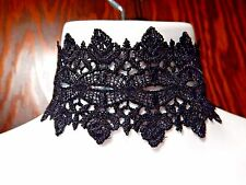 WIDE BLACK SCALLOPED BAND CHOKER lace collar gothic lolita crochet ribbon new N2