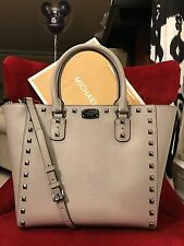 NWT MICHAEL MICHAEL KORS SAFFIANO STUD LARGE TOTE BAG IN PEARL GREY (SALE)