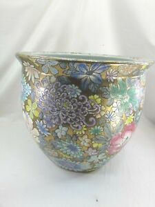 Vintage Chinese Porcelain Famille Rose LARGE Planter Cachepot Coy Fish 51654