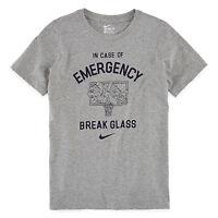 NWT Nike Men's IN CASE OF EMERGENCY BREAK GLASS Basketball tee, GREY 742738-063