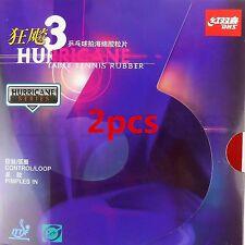 2PCS Table Tennis DHS Hurricane3 Hurricane-3 Pips-In Rubber Sponge Red + Black