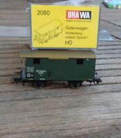Brawa 2080 H0 gedeckter Güterwagen mit Bühne der K.W.St.E. Epoche 1 in OVP