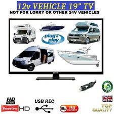 "19"" MOTORHOME BOAT 12 VOLT TV FREEVIEW + RECORD 12V LOW POWER SELF BUILD CAMPER"