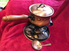 Vintage Food Warmer Copper Brass Chafing Fondue Soup Cheese Pot Dish Set