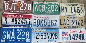 Mixed Bulk Lot Set 9 licence/number plates US/United States/USA/American Pack i