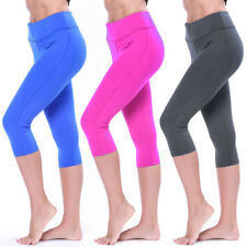 Ladies 3/4 Capri Leggings Fitness Pants Running Sports Yoga Base Layer Pants LC