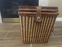 Vintage Wicker Picnic Basket With Leather Strap  Beautiful Must Look 🔥🔥🔥
