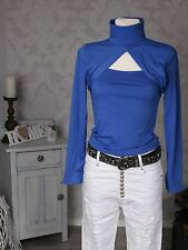 Damen Bolero Shirt Rollkragen Top Langarmshirt Pullover Pulli langarm Neu blau