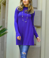Royal Blue Top Size 12 Ladies Womens Tunic With Mock Neck And Long Sleeves