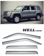 WellVisors Side Window Visors Deflectors W/ Black Trim For 07-UP Jeep Patriot