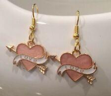 Cute New Gold Enamel Valentine's Day Cupid Heart & Arrow Hook Dangle Earrings `