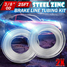 "2x Universal 25Ft Steel Zinc Brake Fuel Line Hose Pipe Tubing 3/8"" OD Coil Roll"