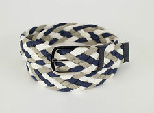 New BRIONI Multi-Color Fabric W/ Leather Silver Buckle Belt 42 US 110 EU $425
