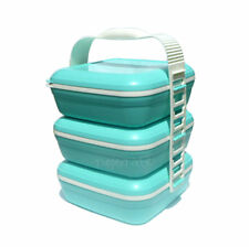 Tupperware Picnic Trio Set Carolier Carry All Clip Together Blue NEW Bowl Plate