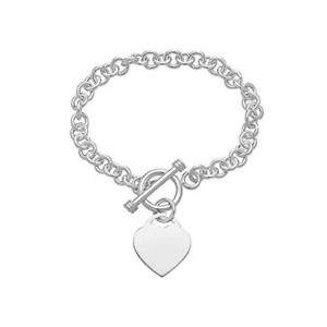 """Argent Sterling 925 Cœur Tag Toggle Bracelet 7/"""" 15 g"""