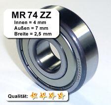 4 Stk. Radiales Rillen-Kugellager MR74ZZ - 4x7x2,5, Da=7mm, Di=4mm, Breite=2,5mm