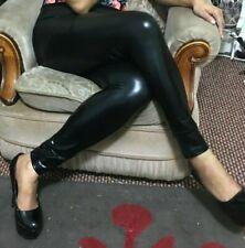 Pvc Wet Look Leggings Women's Black High Waist Pants Girls Leggings