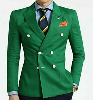 Men's Green Suit Double Breasted Party Prom Peak Lapel Tuxedos Wedding Suits