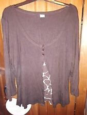 TU size 22 long sleeve layered brown and brown and white top