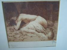 "Vintage Nude Woman ""Gretchen"" etching Germany signed Print Gallery framed 14.5"""