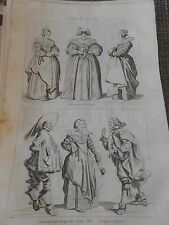 Gravure 1841 - Dame avec le Loup Costumes du temps de Louis XIII