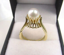 CULTURED AKOYA PEARL FINE BRIGHT WHITE COLOR 8 mm.14K GREENISH YELLOW GOLD RING