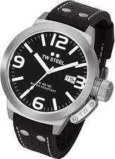 TW Steel TW22 Men's Canteen 50mm Black Dial Black Leather Watch