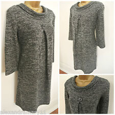 NEW EX EPILOGUE CHARCOAL GREY MARL BUTTON DETAIL COWL NECK DRESS SIZE 12 - 20
