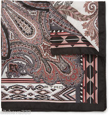 Etro Milano Mens Silk Pocket Square Made in Italy Handkerchief Paisley Black