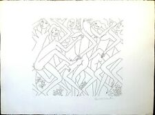 Dancing Nude IV, Knox Martin Signed, Vintage Etching Print, Limited Edition 75