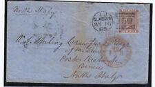 16/5/1863 - 6d Deep LILLA Sg83 su coperchio per L'ITALIA-Cat £ 225